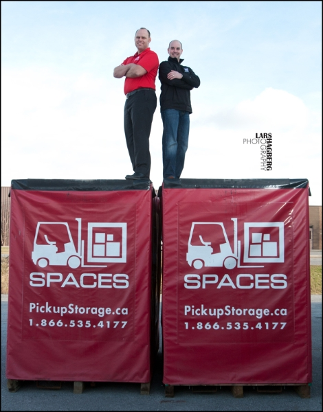 A.J. Keilty(left), Co-founder and Vice President, and Sean Brophy, President of SPACES STROAGE GROUP, pose for a portrait at their business in Kingston, Ontario on Friday Dec. 16, 2011.   Lars Hagberg for the Globe and Mail